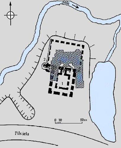 Схема местонахождения Цесвайнского замка