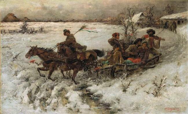 Пётр Стоянов  (Stojanow Pjotr, 1857 – 1957). Зимние развлечения, 1 четв ХХ века.