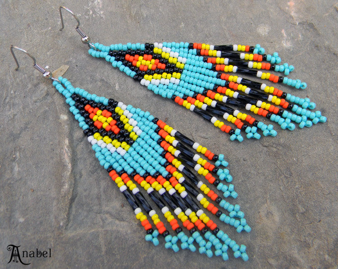бирюзовые серьги из бисера в этническом стиле блог украина