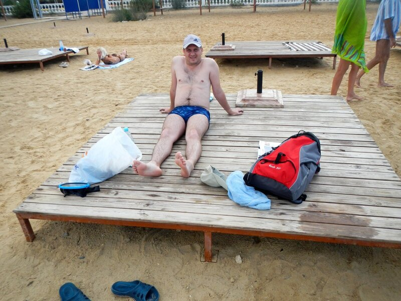 Лешка на пляжном лежаке
