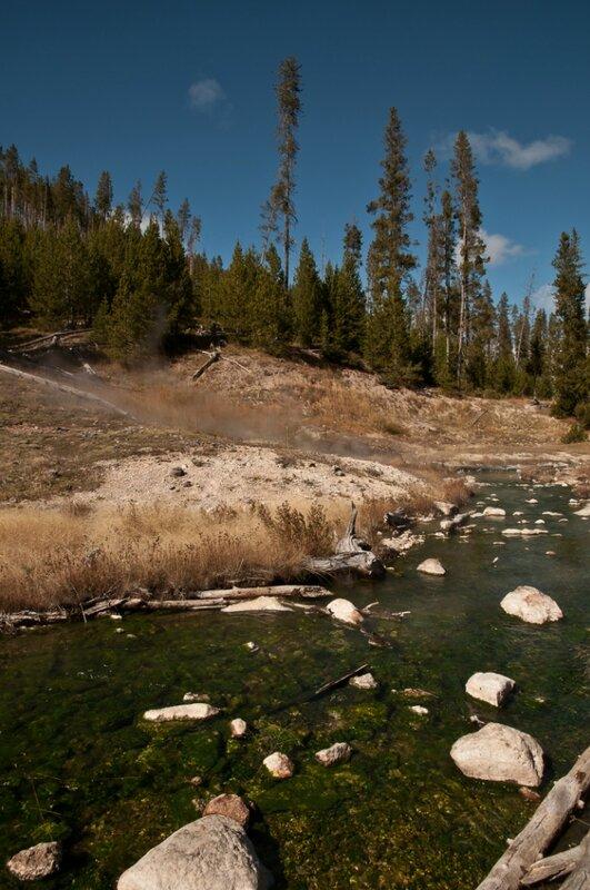 Зеленый горячий ручей