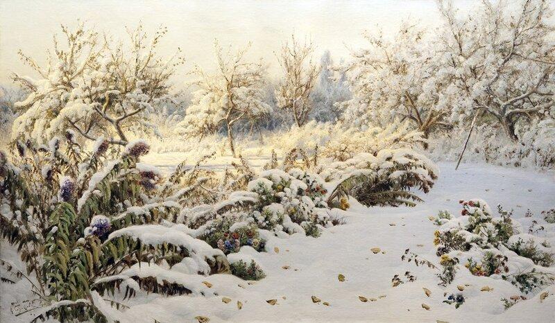 Николай Александрович Сергеев (1855-1919). «Осенний каприз зимы. Первый снег»