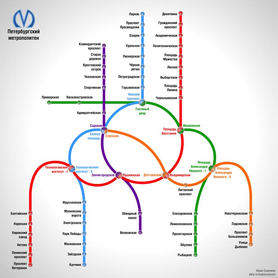 При желании, можно найти кольца и в схеме Санкт-Петербургского метрополитена.