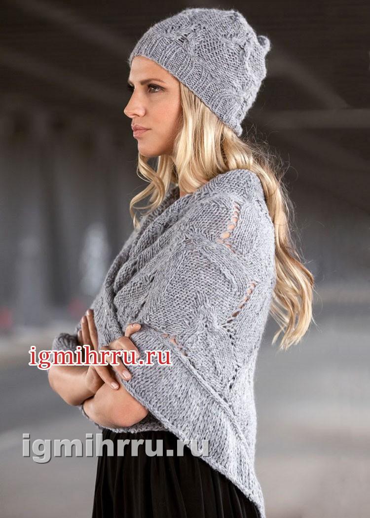 Женственный светло-серый комплект: шапочка и платок. Вязание спицами