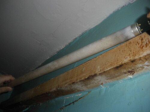 Фото 1. Неисправный люминесцентный светильник ванной комнаты. Общий вид.