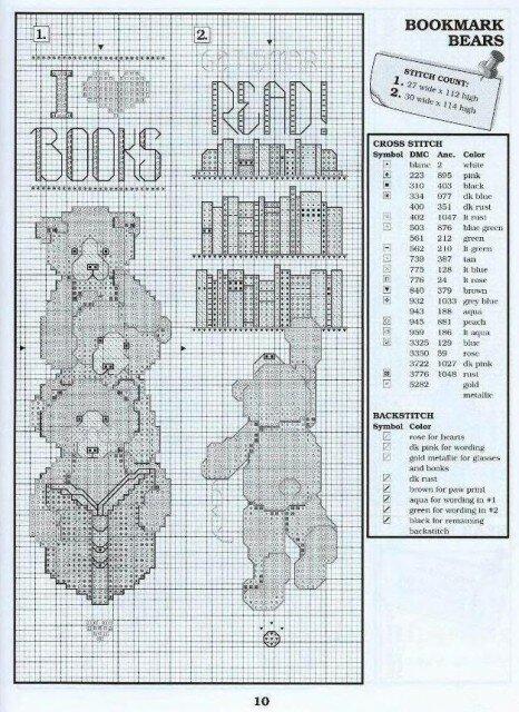 Мишки Тедди по-новому.  Схемы для вышивки мишек.