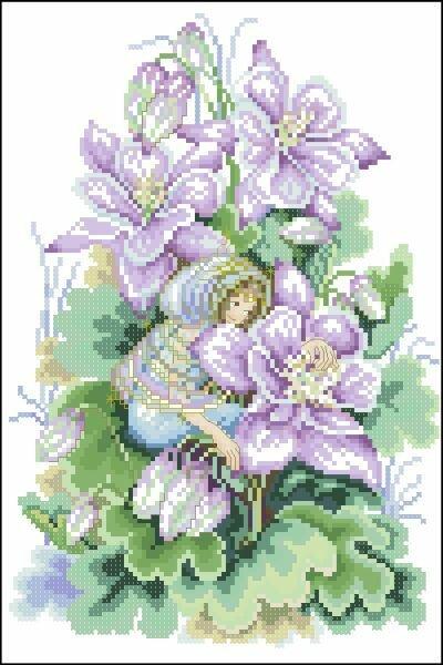 Цветы и Растения.  Поделиться.  Lanarte. бесплатно. схема.  Метки. крестом. крестиком.