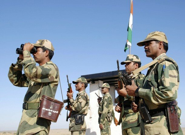 BSF soldiers patrol border at India-Pakistan International Border Post