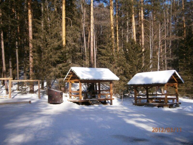 Туристическая стоянка зимой