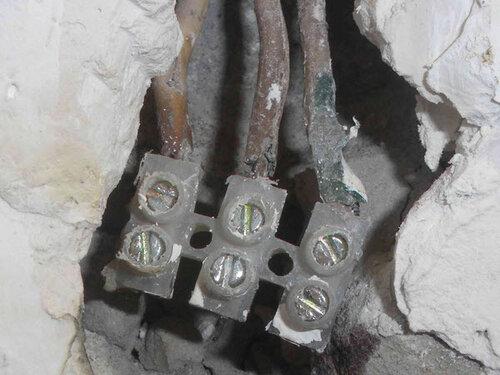 Фото 6. Винтовой клеммник. Крупный план. Видно плачевное состояние изоляции проводов.