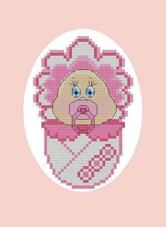 """Набор для вышивания 01573, открытка  """"С новорожденной! """", фото 1 - Наши Хобби."""