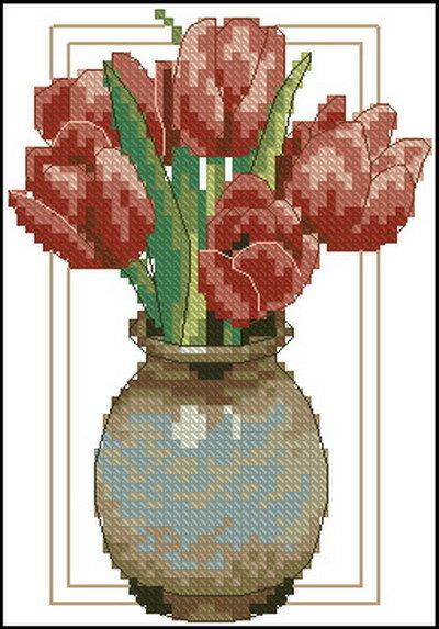 Описание: Схема для вышивки крестом из набора Dimensions 06982 Red tulip в формате xsd.  Метки. крестом. крестиком.