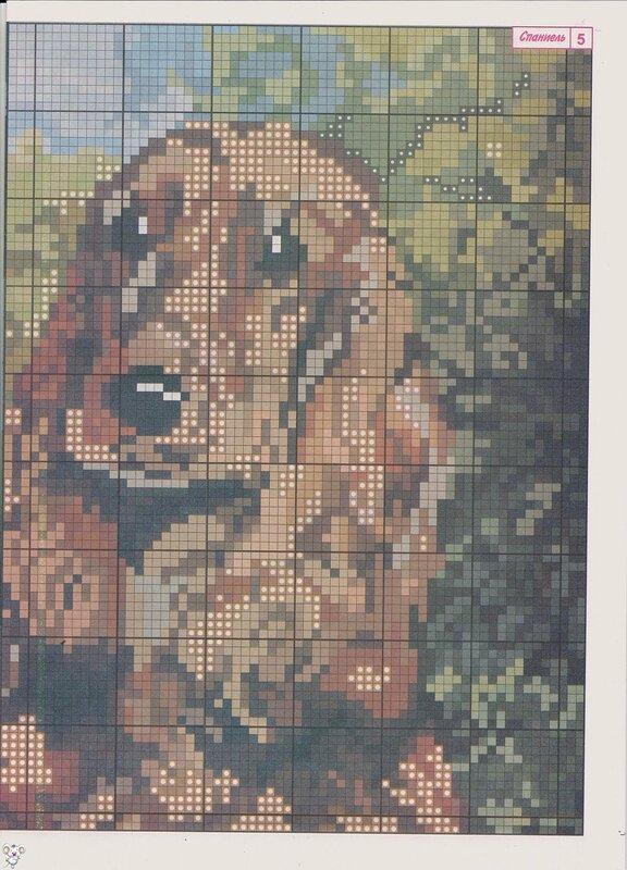 Скачать бесплатные схемы вышивки крестом собаки (цветные) .