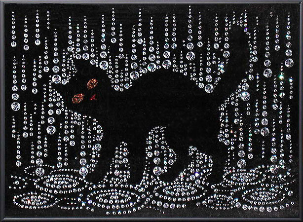 """Картина  """"Кошка под дождём """", изготовлена из страз SWAROVSKI.  Размер: 29х40см.  Изображение кошки несёт в дом удачу и..."""