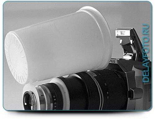 Эффективное использование встроенной фотовспышки - белый пластиковый стаканчик как рассеиватель