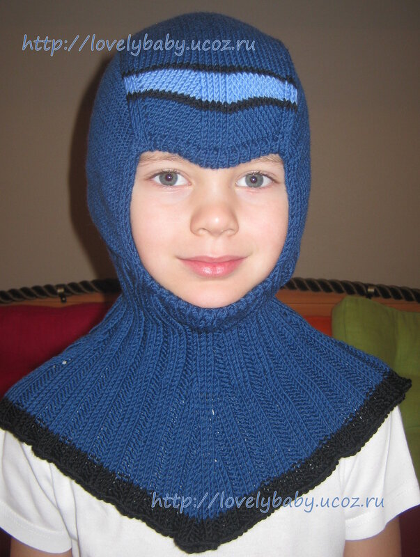 Шапка шлем спицами 3