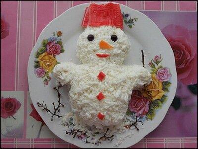 """Новогодний салат """"Снеговик"""""""