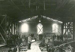 Строительство цеха стекольного завода Северного стекольно-промышленного акционерного общества.