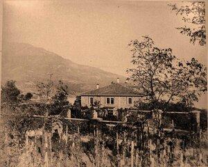 Вид здания казармы у въезда в имение Ливадия; на первом плане - виноградники.