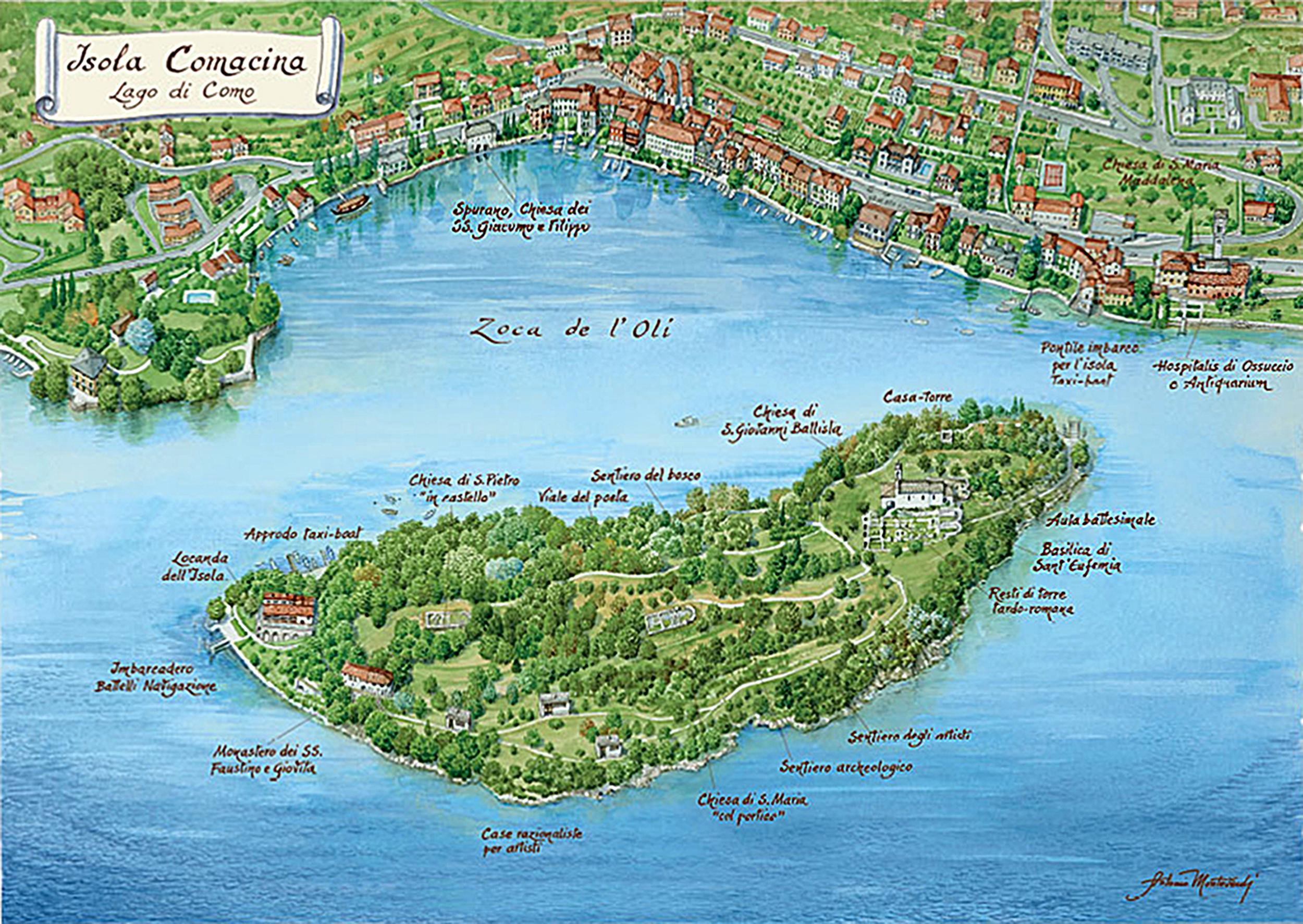 Остров комачина на озере Комо