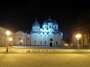 Вечерняя подсветка Софийского собора - Новый год в Великом Новгороде