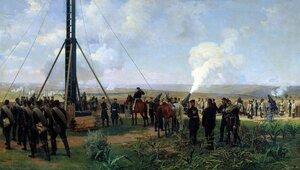 Артиллерийский бой под Плевной. Батарея осадных орудий.