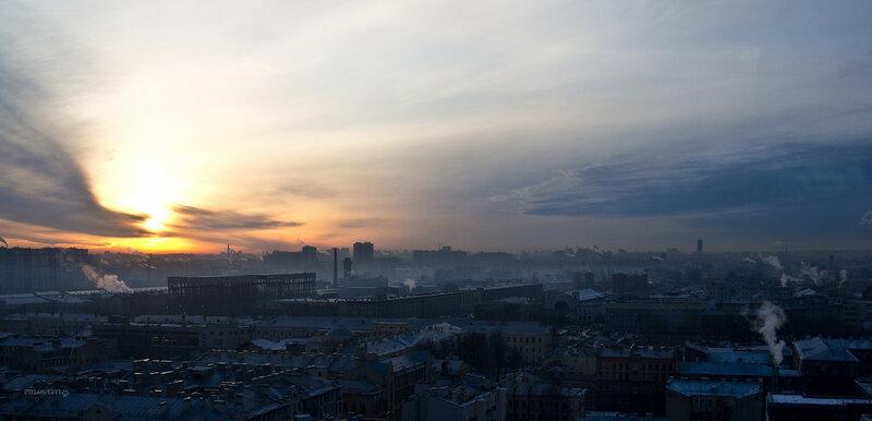 Декабрьский рассвет с высоты