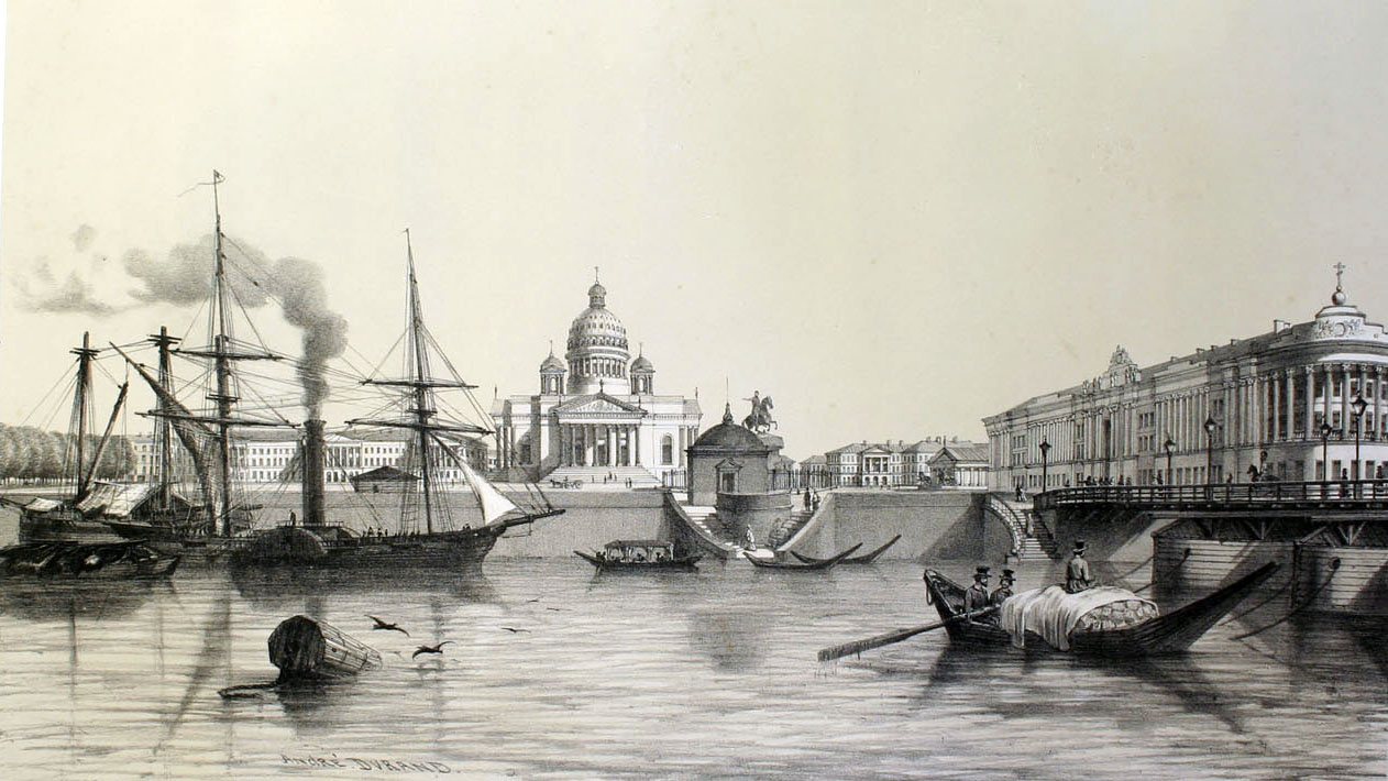 A view from the port of the Isaac Cathedral and the Senat Palace in Saint Petersburg on July 17 1839. из книги  André Durand, Album du voyage pittoresque et archaéologique en Russie. Paris: August Bry. 1845
