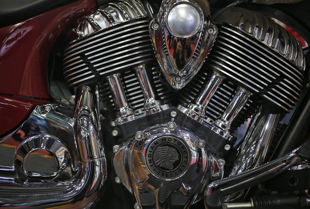 A close up view of an engine of Indian Scout motorcycle at the Indian Auto Expo in Greater Noida, on