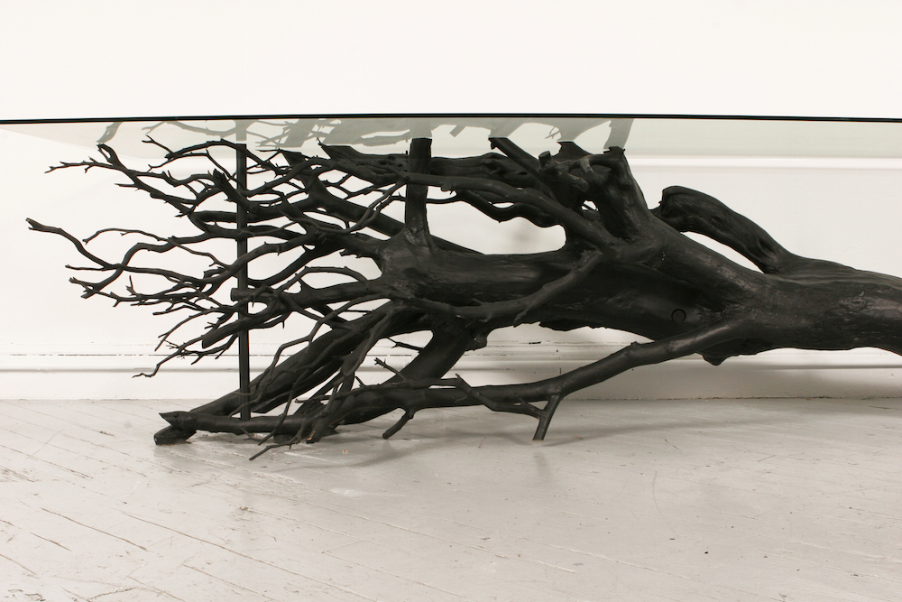 """The Tree Table,"" native wood, stainless steel, and glass, 150""x50""x30"""