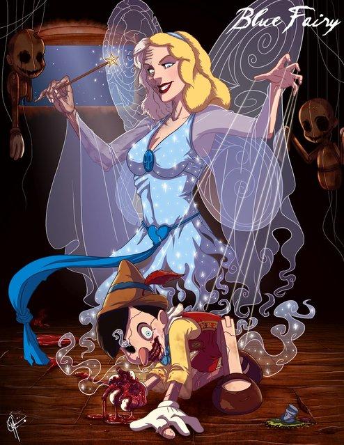Disney Princesses Reveal Their Dark Sides in Creepy Illustrations by Jeffrey Thomas (15 pics)