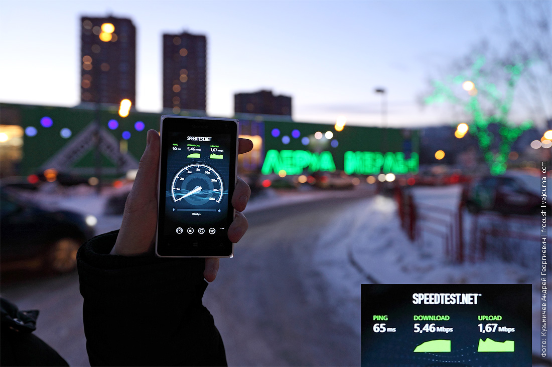 тест скорости 3G Tele2 Московская область ленинградское шоссе дом 30