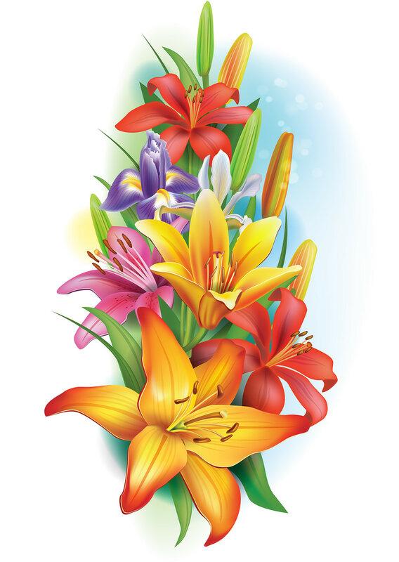 Guirnalda de lirios y flores de iris