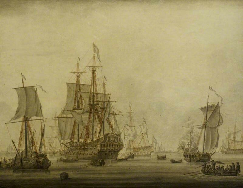 Calm: Dutch Ships at Anchor in a Crowded Harbour