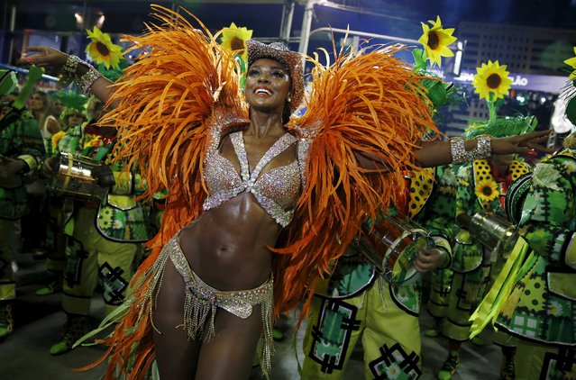Imperatriz samba school's Drum Queen Cris Vianna performs during the carnival parade at the Sam