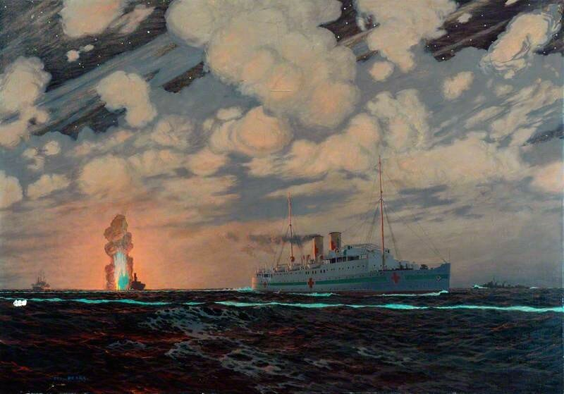 Night Scene of Southern Railway Steamers as Hospital Ships during World War II