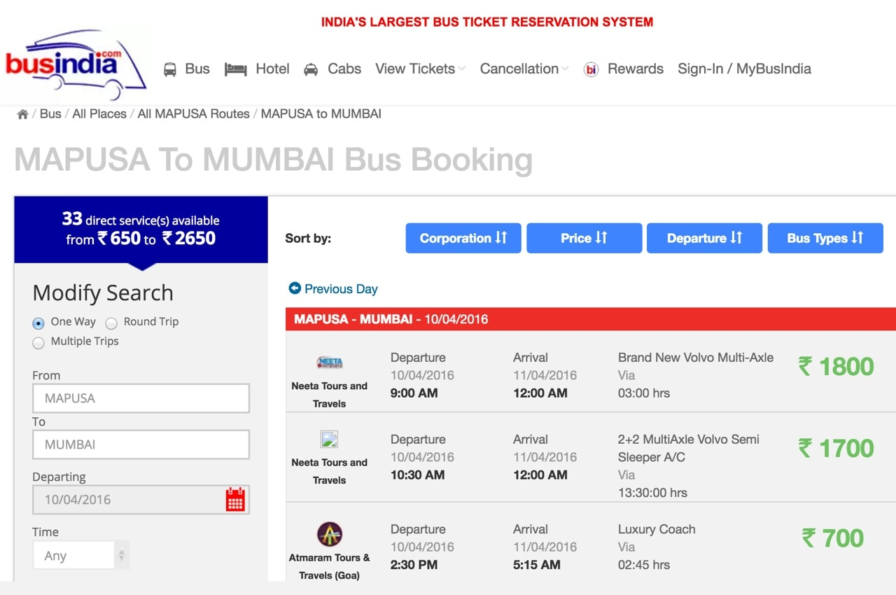 Интерфейс сайта BusIndia.com
