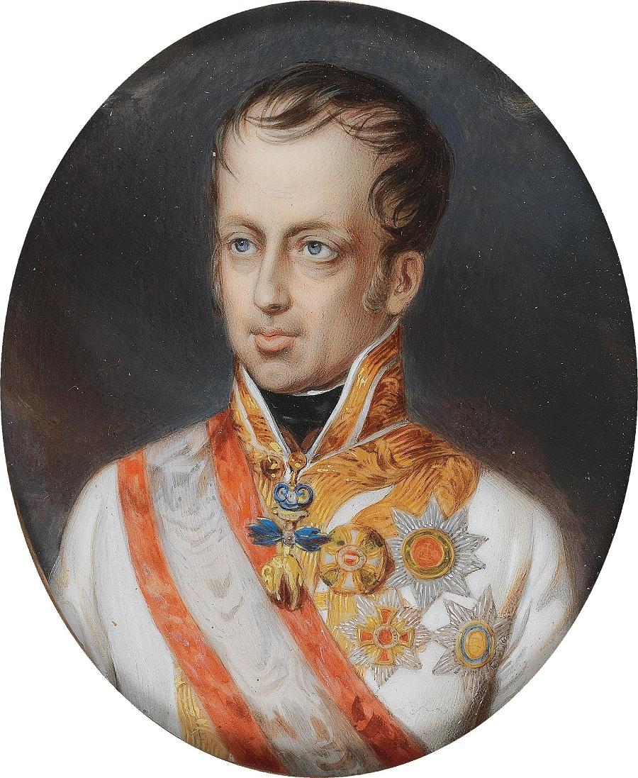 Австрия 1840Портрет императора Фердинанда I (1793-1875) в мундире с орденом Золотого руна, акварель слоновой кости