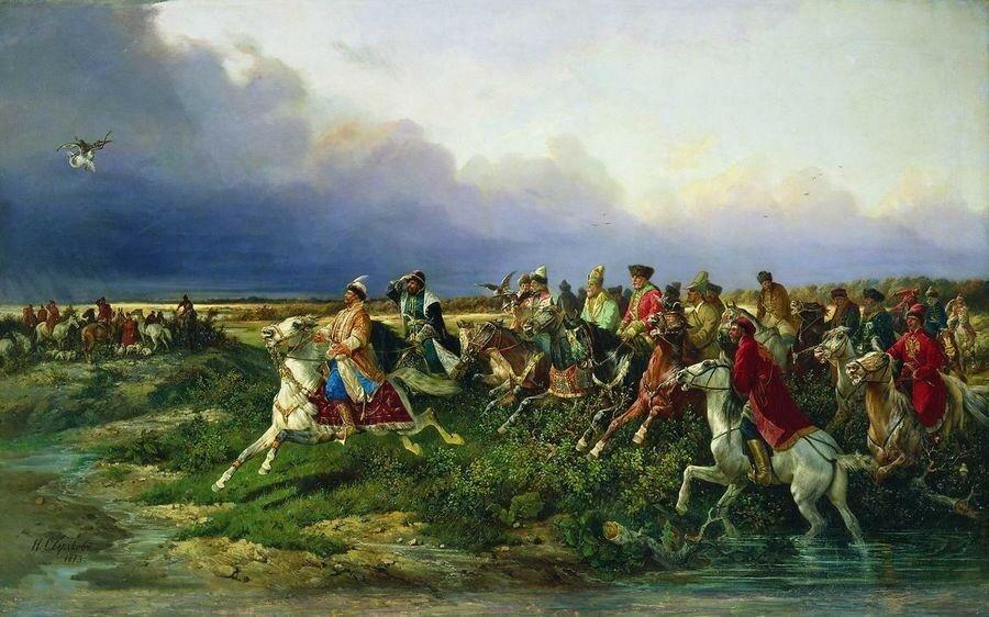Царь Алексей Михайлович с боярами на соколиной охоте близ Москвы. 1873.jpg