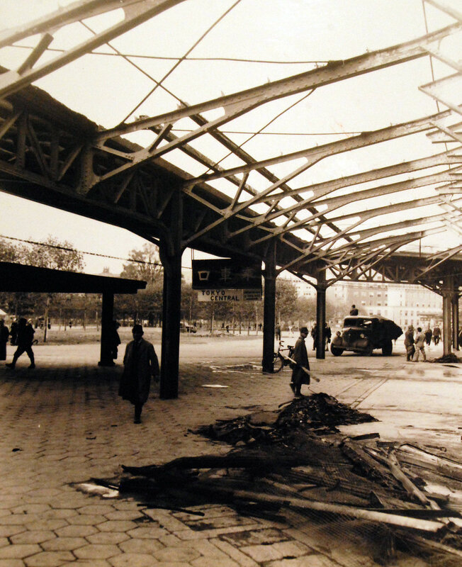Street scene in Tokyo, showing Tokyo Central Rail Road Station. October 24, 1945.