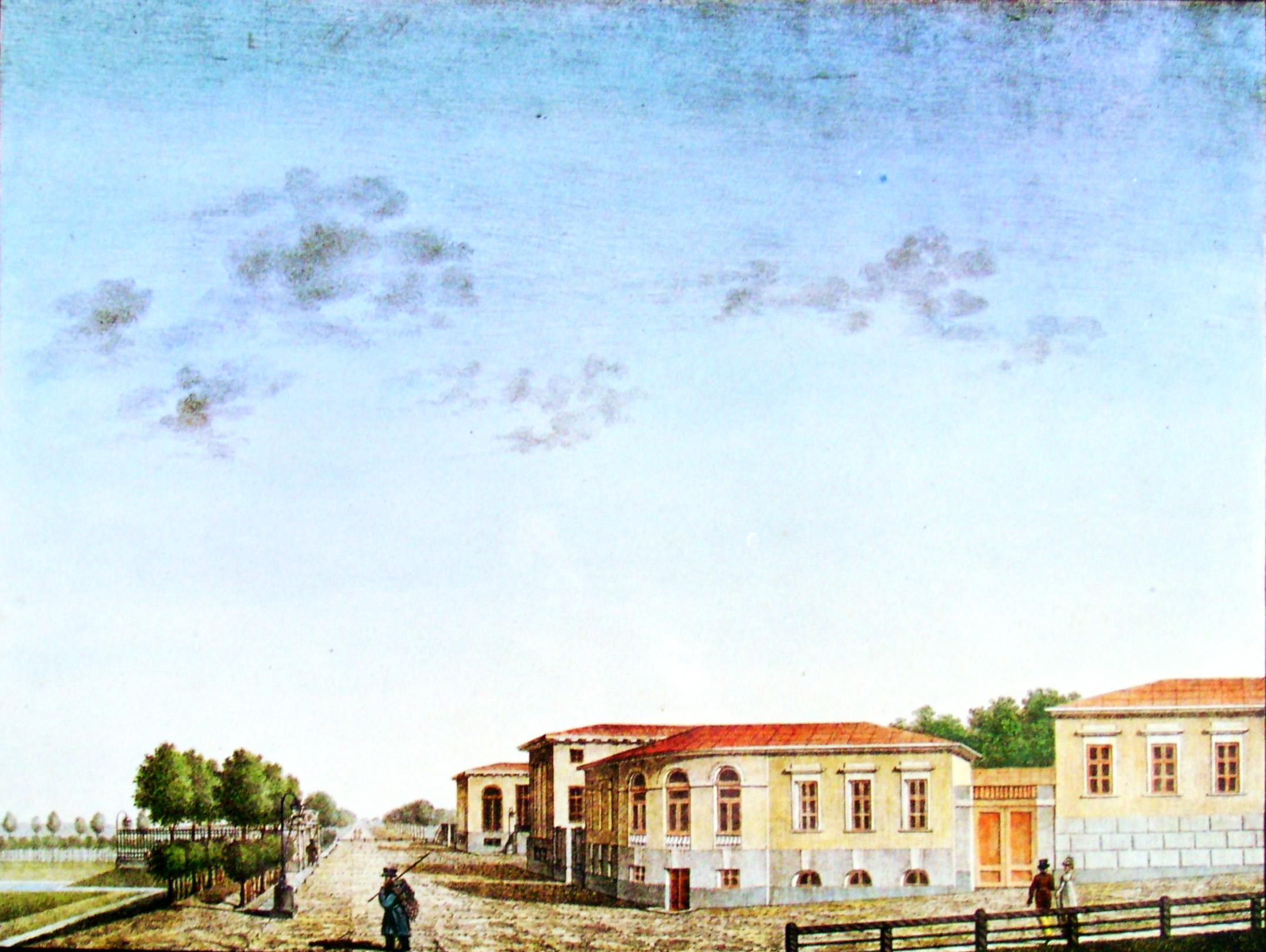 34. Вид крестьянских домов в селе Грузине с приезда от реки Волхова. Рисовал И. Семенов.