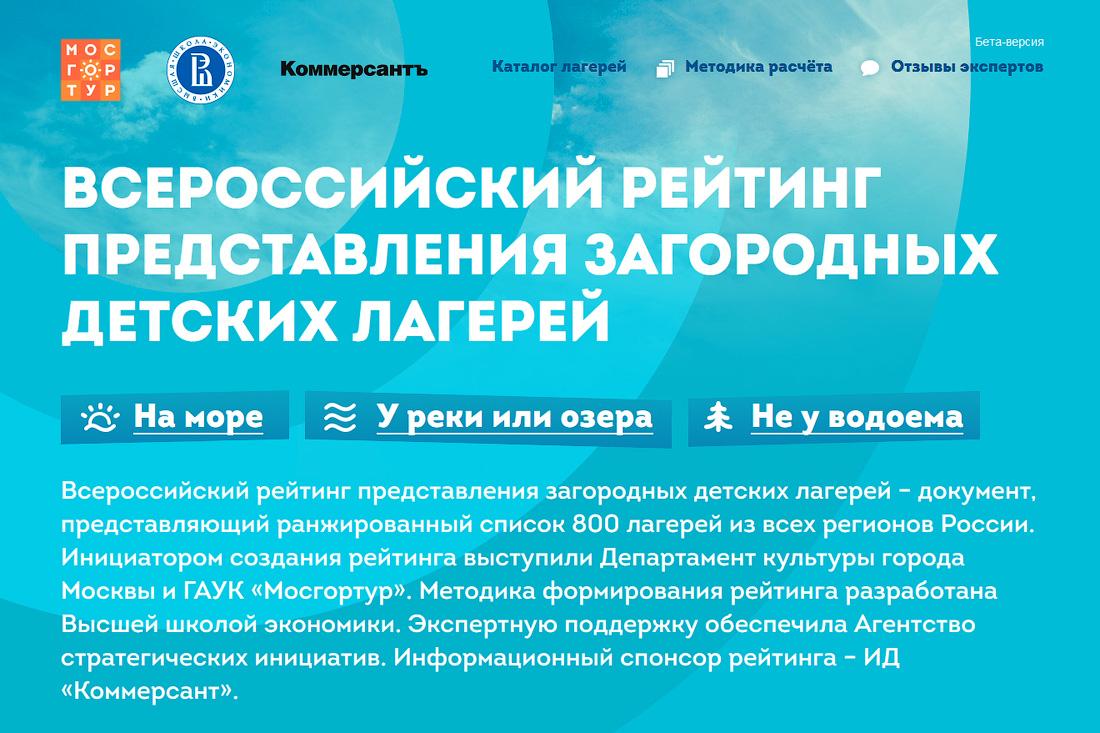 Всероссийский рейтинг представления загородных детских лагерей