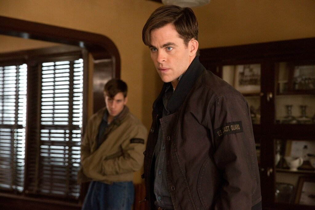 Chris PIne is Bernie Webber and Beau Knapp is Mel Gouthro in Disney's THE FINEST HOURS, a heroic action-thirller based on the extraordinary true story of the most daring rescue in the history of the Coast Guard.