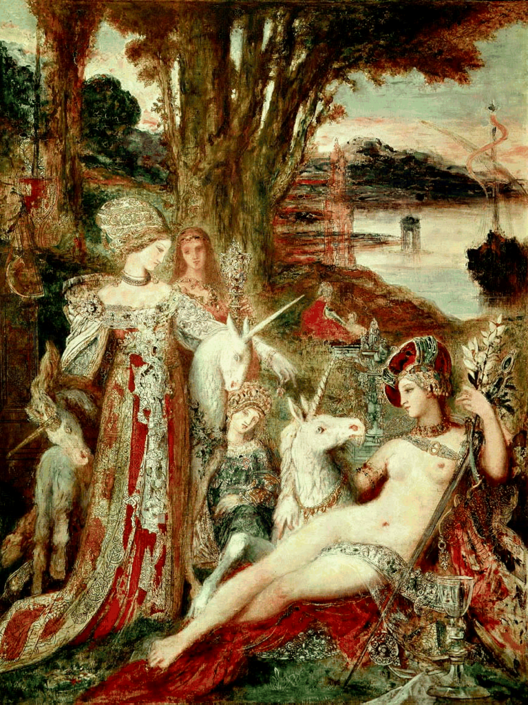 Gustave Moreau-The Unicorns ca1885.png