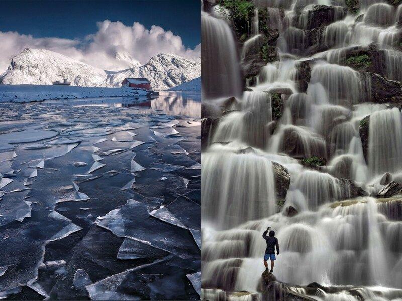 Замерзшее озеро на Лофотенских островах и водопад