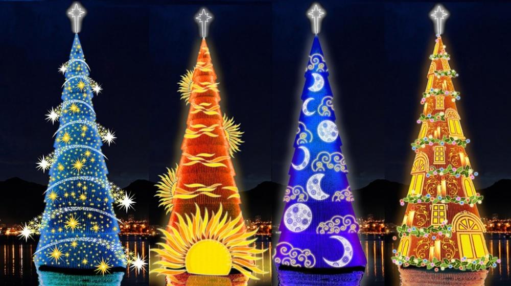 Это самое большое рождественское дерево, его высота— 82метра. Елка смонтирована наспециальной пла