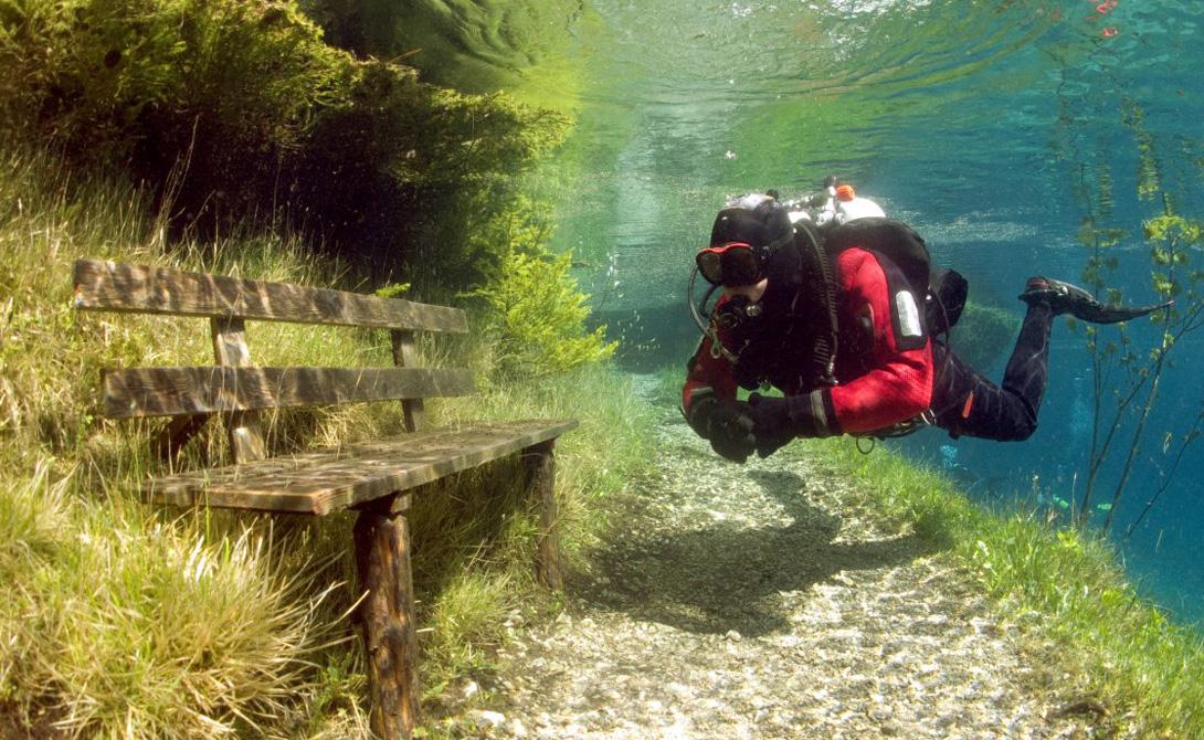 Здесь мир словно становится с ног на голову: рыбы плавают в траве, водолазы сидят на лавочках, а дер