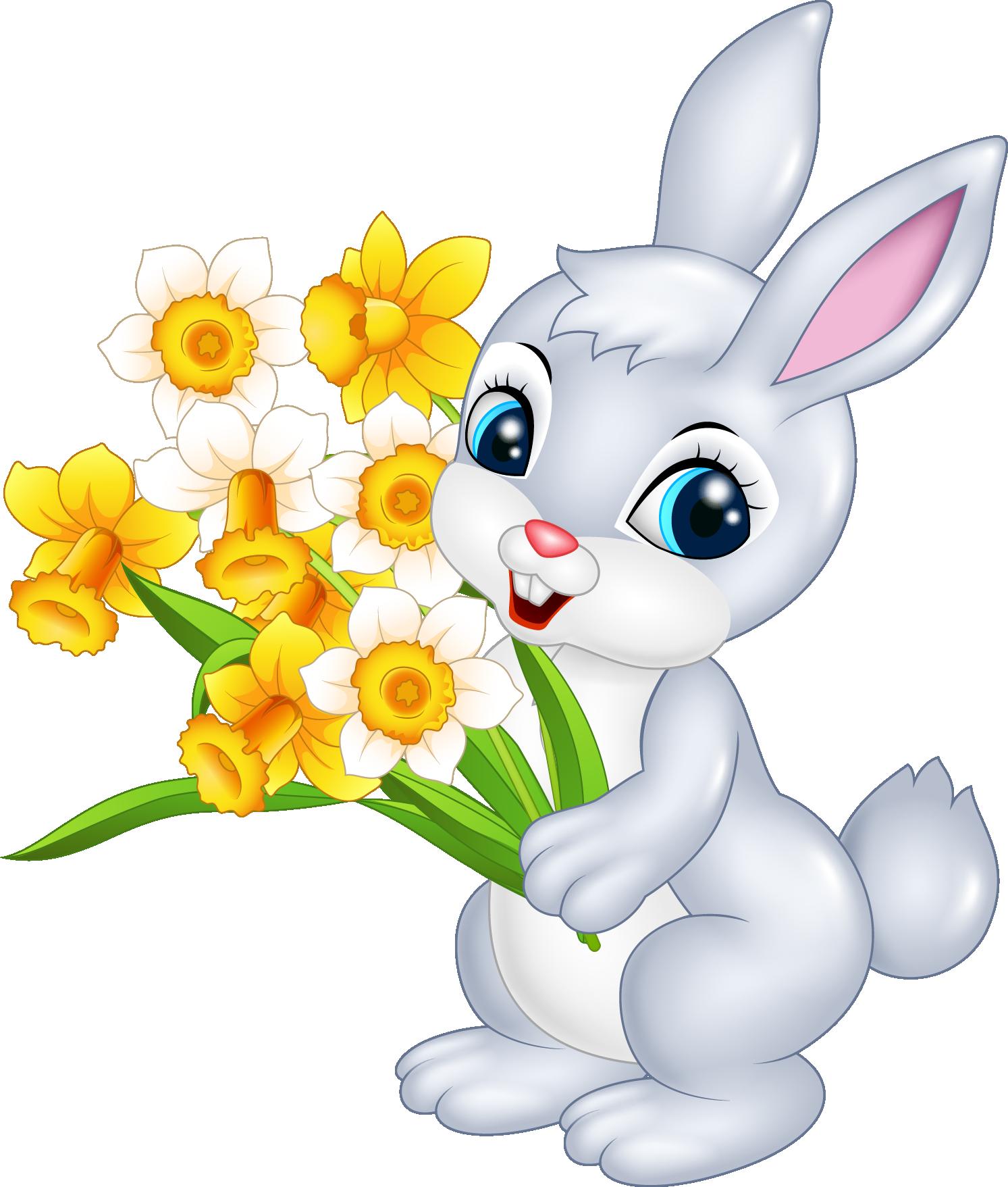 заяц дарит цветы картинки поздно поздравили