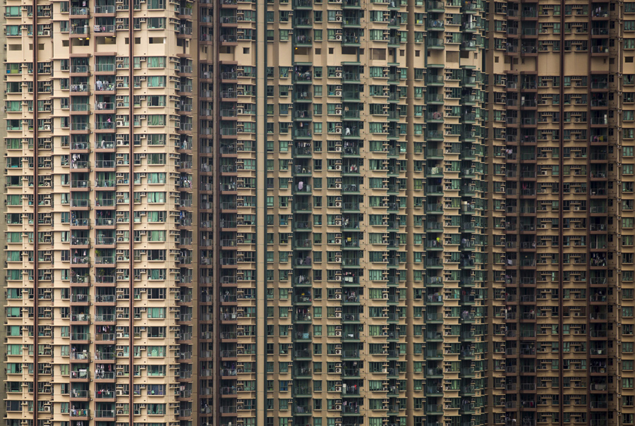 Private housing blocks in Hong Kong, China, photographed on December 15, 2015.