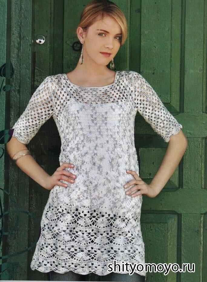 Нежное летнее платье связано